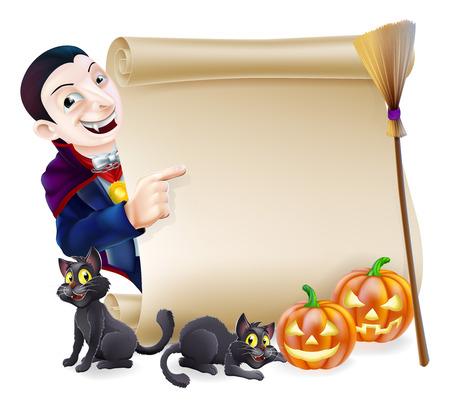 Défilement Halloween ou le signe de la bannière à l'orange citrouilles sculptées Halloween et chats de sorcière noire, manche à balai de sorcière et de personnage de dessin animé de vampire Dracula