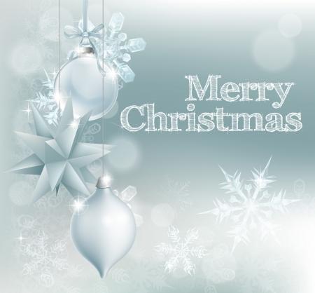 Kerst sneeuwvlok en decoratie achtergrond met Vrolijk kerstfeest bericht en zilveren kerstballen