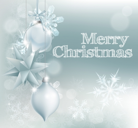 Christmas snowflake and decoration background with Merry Christmas message and silver baubles