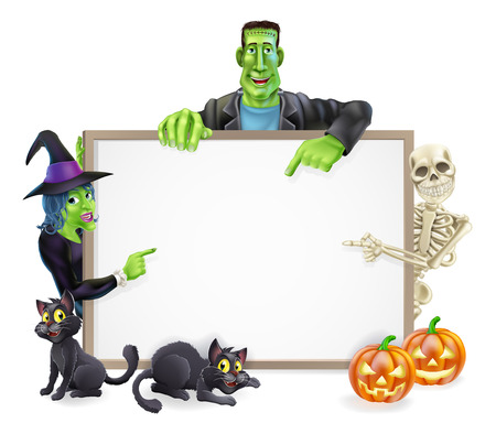 A Halloween sign with cartoon skeleton, witch and Frankenstein monster all pointing at the center. Also with Halloween pumpkins and black cats.