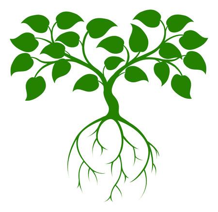 Een illustratie van een groene boom afbeelding met lange wortels Stock Illustratie