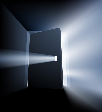 Ajar door light beam conceptual illustration with door opening and light streaming out around the door and through the keyhole
