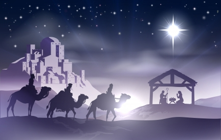 Christian Noël crèche avec l'enfant Jésus dans la crèche en silhouette, trois hommes sages ou les rois et les étoiles de Bethléem avec la ville de Bethléem, dans la distance