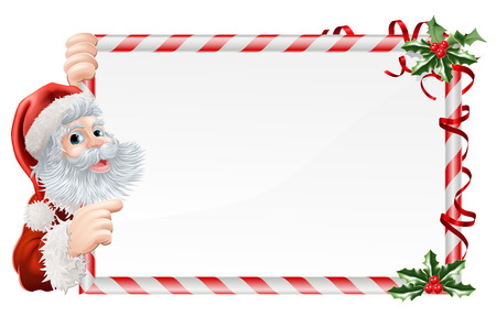 Christmas Santa Claus Sign illustration with Santa peeping round a sign decorated with Christmas Holly sprigs Illustration