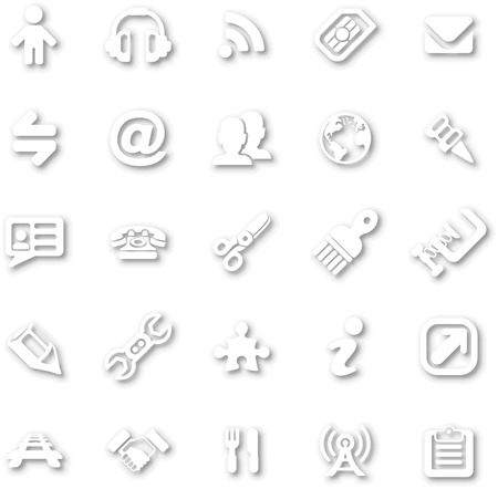 A white minimalist style cutout icon set with drop shadows for all your web and app needs Stock Vector - 22951946