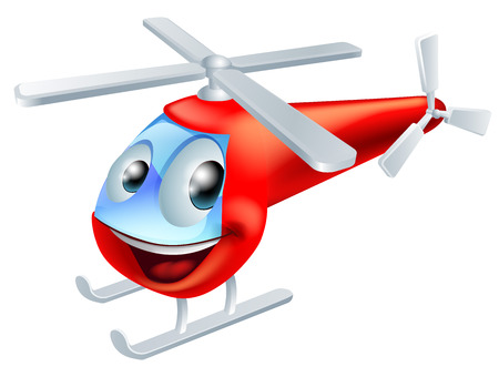Illustration of a cute red helicopter children's cartoon character