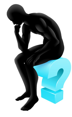 Silhouette man on a question mark icon in thinking in a thinker pose. Concept for any questioning or psychology, poetry or philosophy.