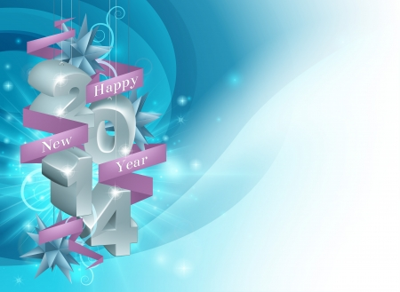 Illustration of a Happy New Year 2014 background in blue. Illustration framing copyspace.