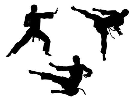 Sylwetki karate sztuki walki mężczyzn w różnych pozach karate lub inne sztuki walki, w tym wysokiej kopa i opuszcza latającego