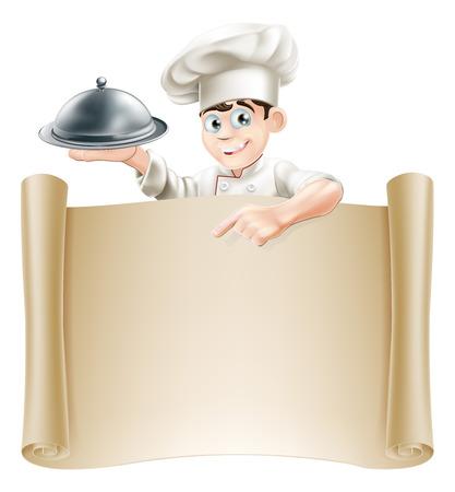 Tekening van een chef-kok die een zilveren schotel of cloche wijzend op een document rol of menu