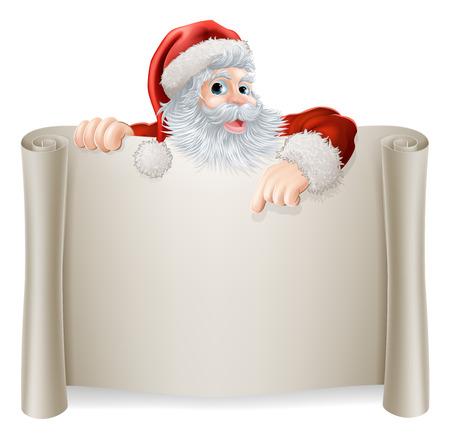 Kerstman van Teken met een retro vintage stijl Kerstman die neer op een boekrol afficheteken