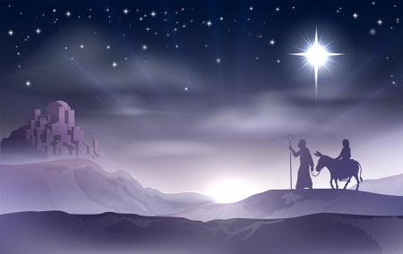 An illustration of Mary and Joseph in the dessert with a donkey on Christmas Eve searching for a place to stay. Bethlehem city in the background. Nativity story illustration. Ilustração
