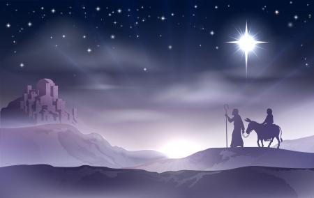 Un esempio di Maria e Giuseppe nel dessert con un asino alla vigilia di Natale alla ricerca di un posto dove stare. Città di Betlemme in background. Natività storia illustrazione.