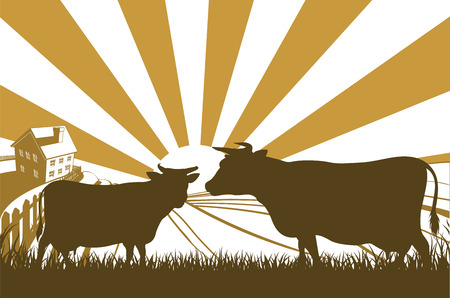 Un paisaje idílico granja lechera con las vacas en silueta y casa de campo con la salida del sol sobre las colinas onduladas Ilustración de vector