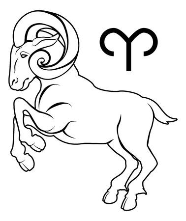 Illustration of Aries the ram zodiac horoscope astrology sign
