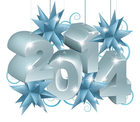 Silver New Year or Christmas 2014 Decorations hanging on string with blue star baubles or ornaments Illustration