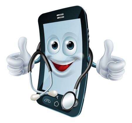 Cell phone man with a stethoscope round his neck giving a thumbs up  Health app concept