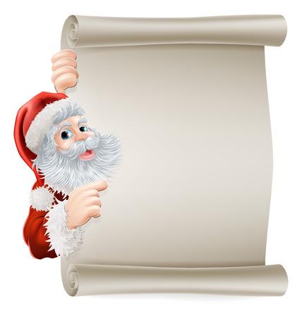 Santa Christmas poster of Santa cartoon character pointing sideways at a poster sign
