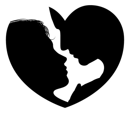 부부는 심장 모양을 형성하는 남자와 여자의 머리의 심장 실루엣 개념 실루엣에 직면 일러스트