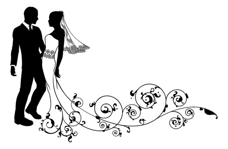 Braut und Bräutigam an ihrem Hochzeitstag, vielleicht mit einem ersten Tanz oder zu küssen, mit schönen Brautkleid und abstrakten Blumenmuster Zug. Standard-Bild - 23662277