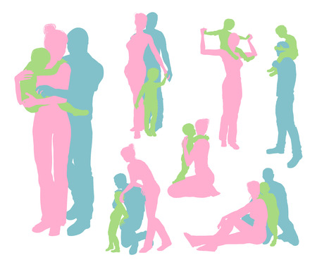 High quality and very detailed silhouettes of a young happy family, mother and father and child, in various poses