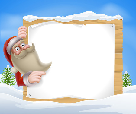 A Santa Christmas Winter Scene of Santa pointing at a winter sign Stock Vector - 23662282