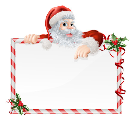 Santa Claus Cartoon Sign with Santa peeking over a sign that is decorated with Christmas Holly Illustration