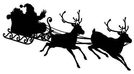 Santa Sleigh Silhouette illustration of Santa Claus in his sleigh flying through the sky being pulled by his reindeer Illustration