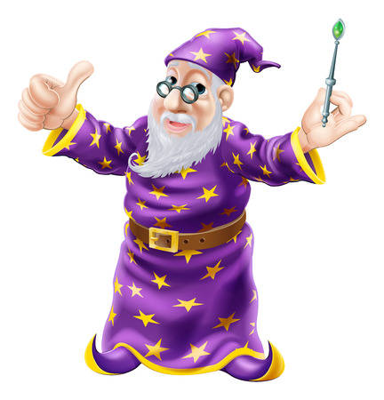 Illustration of a happy old wise wizard character holding a wand a doing a thumbs up gesture
