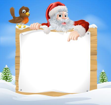 A Christmas sneeuw scène met de Kerstman en een leuke cartoon Robin boven een houten bord