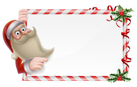 A Santa Christmas sign illustration of a cute cartoon Santa holding a banner and pointing