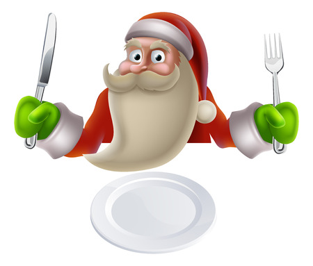 Santa eating Christmas dinner, cartoon Santa sat down with a knife and fork ready for dinner to be put on his plate