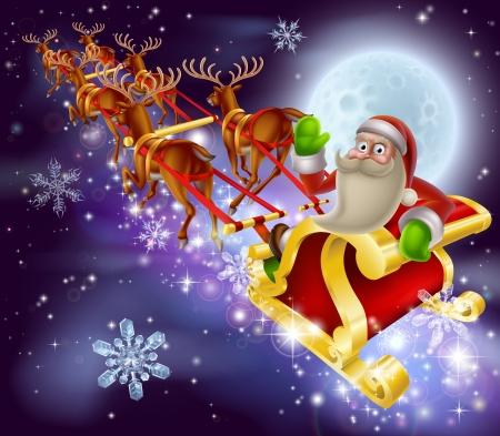 Een kerstman slee kersttafereel van de kerstman vliegen door de lucht op zijn slee getrokken door rendieren met sneeuw en volle maan