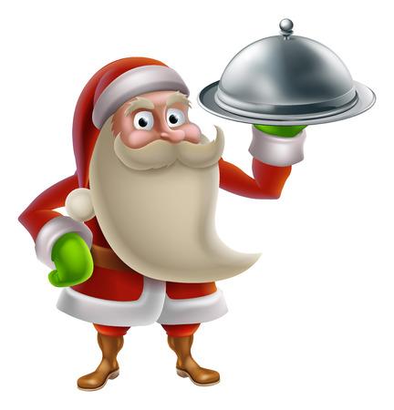 Cartoon Weihnachtsmann Weihnachtsessen kochen Essen, mit Weihnachtsmann hält ein Silbertablett