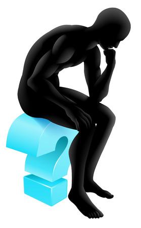 Ilustración conceptual de un hombre de silueta sentado en un icono de signo de interrogación en un pensador pose sumido en sus pensamientos. Podría ser el concepto de cualquier cuestionamiento o la psicología, la poesía o la filosofía.