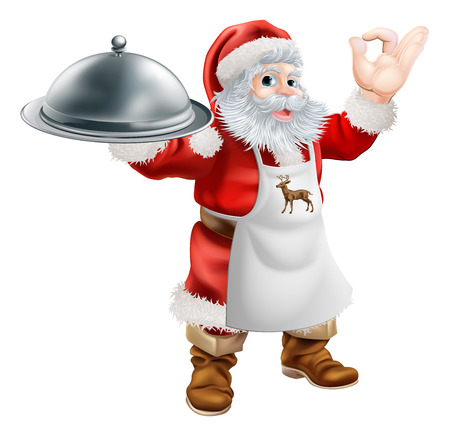 Cartoon Santa Claus cooking Christmas dinner food, with Santa in an apron holding a silver platter and doing a perfect gesture