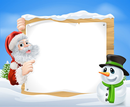 Santa and cartoon Snowman Snow Scene with Santa and a cartoon snowman in a winter scene framing a wooden sign