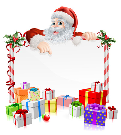 Santa Christmas gifts sign illustration with Santa peeking over a sign surrounded by stacks of Christmas gifts
