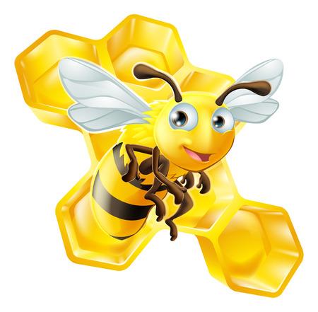 꿀 빗 앞의 귀여운 만화 꿀벌의 그림 일러스트