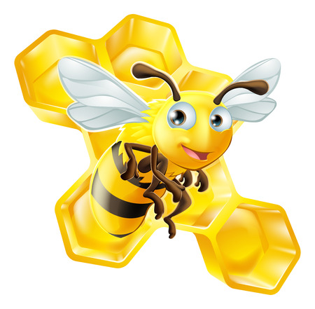 An illustration of a cute cartoon bee in front of honey comb