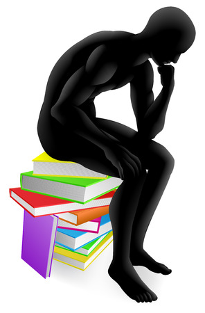 A person thinking in thinker pose while sitting on a pile of books concept illustration