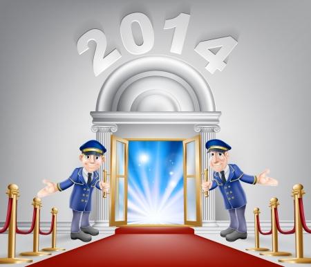 レッド カーペットとそれの上の数字 2014年上流階級探してドアのイラスト