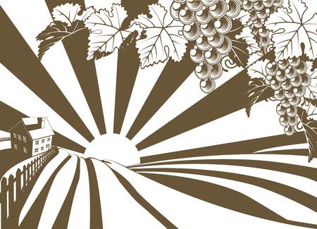 Ejemplo granja viña Amanecer con racimos de uvas y la vid en el estilo retro de la vendimia y las colinas ondulantes y granja