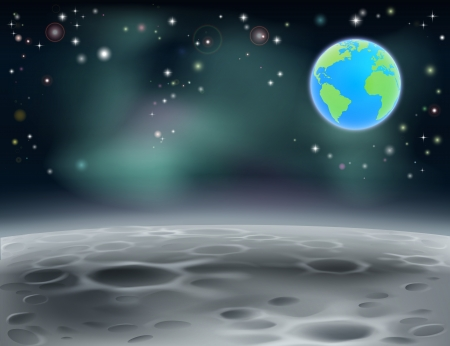 Moon surface landscape background with stars, craters and planet earth in the background