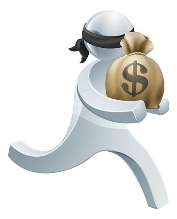 얼굴 마스크 돈의 큰 자루에서 실행하는 도둑의 도난 도둑은 사람이 개념
