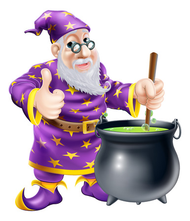A friendly old wizard character stirring a big black cauldron Ilustracja