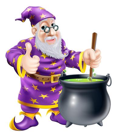 Un amichevole vecchio personaggio mago mescolando un grosso calderone nero