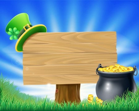 A St Patrick's Day Leprechaun sign illustration with leprechaun hat and a pot of gold