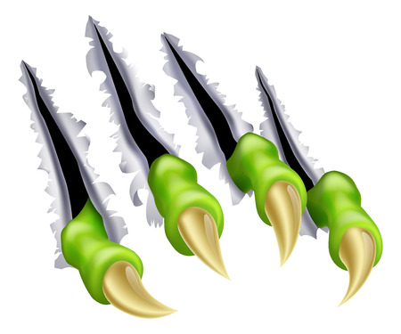 An illustration of a monsters claw hand tearing through the background causing rips or scratches