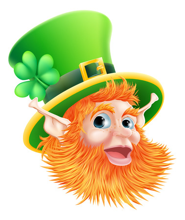 An illustration of a happy St Patricks Day Leprechaun Face Vectores
